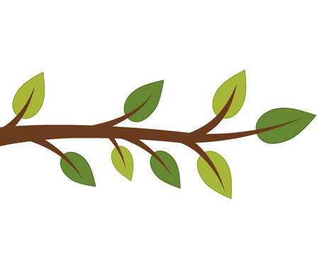 Vector tree branch with green leaves. Vector tree branch. Tree branch with leaves vector illustration Illustration