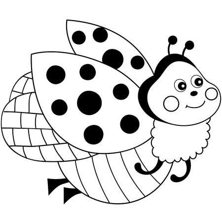 A Vector Black And White Cartoon Ladybug Flying. Ladybug Vector  Illustration On White Background.