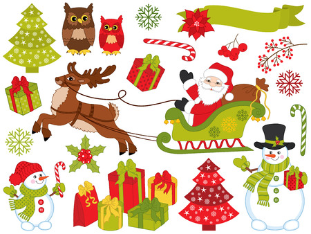 Vector Christmas and New Year set with Santa Claus.