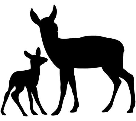 Vector siluetas de hermosos ciervos del bosque.