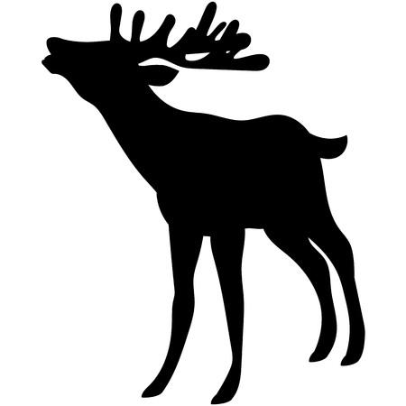 Vector silhouette of beautiful woodland deer.