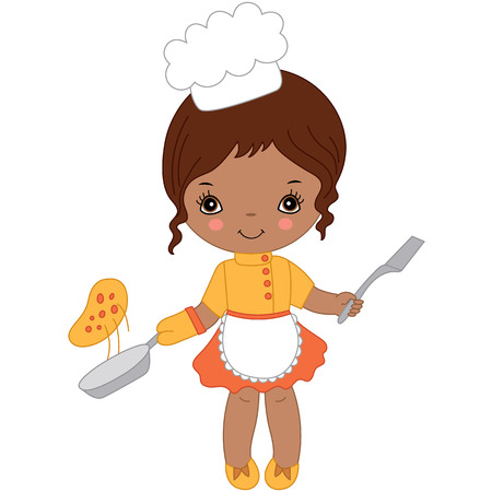 Vector cute little African American girl cooking pizza. Little chef vector illustration