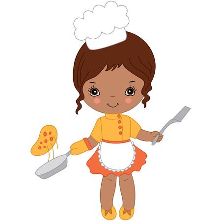 Vector linda niña afroamericana cocinando pizza. Pequeña ilustración de vector de chef