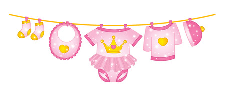Vector princess baby girl clothes. Vector baby girl clothes hanging on the line.