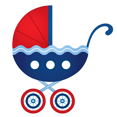 Vector stroller in nautical style in red and blue colors vector illustration