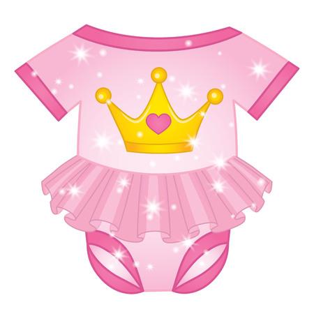 Vector bodysuit for princess baby girl. Vector romper for baby girl on white background. Illustration