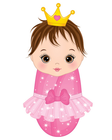 Vector cute baby girl dressed as princess on white background.