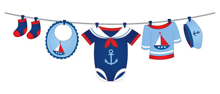 Vector baby clothes in nautical style hanging on the line. Illustration