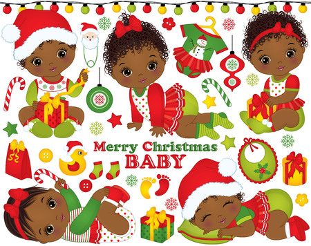 Vector holiday set with cute baby girls, toys, decorations and various accessories. Vetores