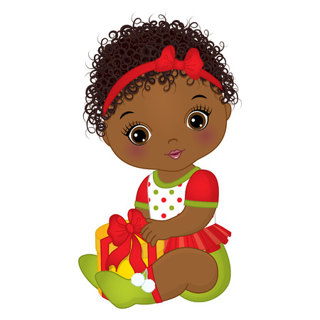 Vector cute little girl wearing Christmas clothes.