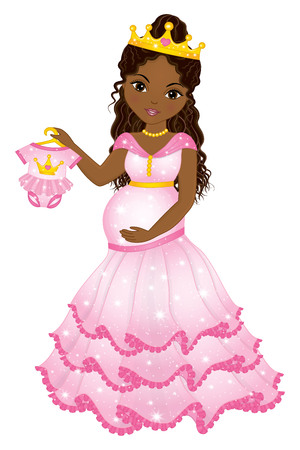 Vector beautiful pregnant woman dressed as princess holding pink baby bodysuit.