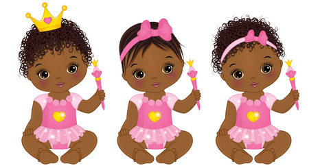 Vector cute little baby girls dressed as princesses.