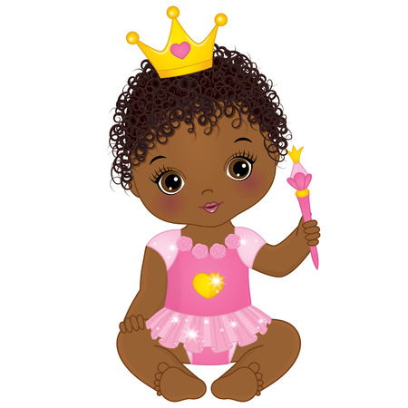 Vector cute little girl dressed as princess. Illustration