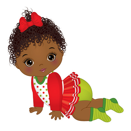 Vector schattig meisje kerst kleding dragen. Stock Illustratie