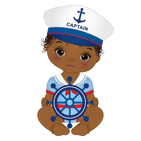 Vector cute little girl dressed in nautical style.