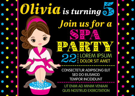 Vector card template with cute little girl taking treatment in spa. Card template for birthday party on polka dot background. Vector little girl. Birthday card template. Vector illustration