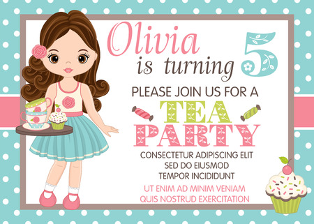 Vector card template with cute little girl and cupcakes. Card template for birthday party on polka dot background. Vector little girl. Birthday card template. Vector illustration