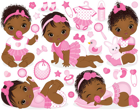 Vector set with cute African American baby girls, toys, clothes, decorations and various accessories.