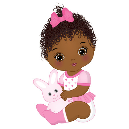 Vector cute African American baby girl with toy bunny. Vector baby girl. African American baby girl vector illustration.