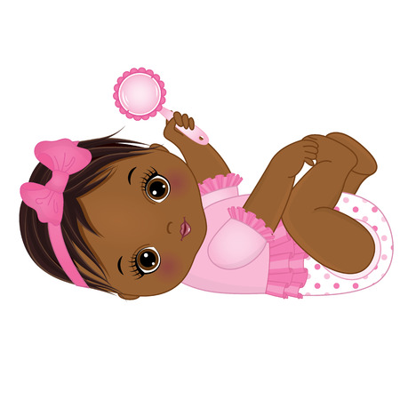 Vector cute African American baby girl with rattle. Vector baby girl. African American baby girl vector illustration.