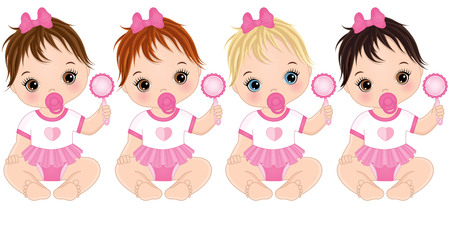 Vector cute baby girls with rattles sitting. Vector baby girls with various hair colors. Vector baby girl. Baby girls vector illustration.
