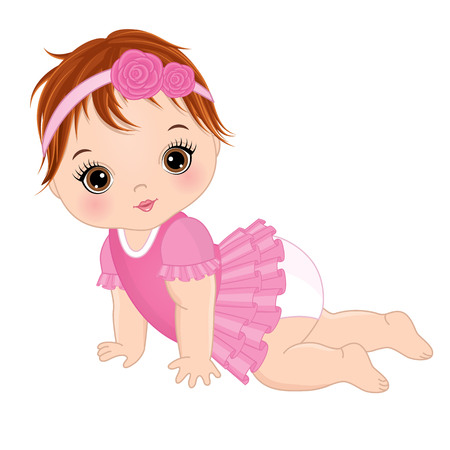 Vector cute baby girl crawling. Vector baby girl. Baby girl vector illustration