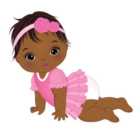 Vector cute African American baby girl crawling. Vector baby girl. African American baby girl vector illustration