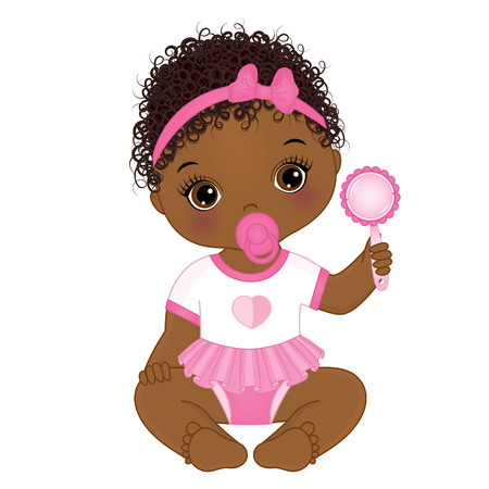 Vector cute African American baby girl with rattle sitting. Vector baby girl. African American baby girl vector illustration Vettoriali