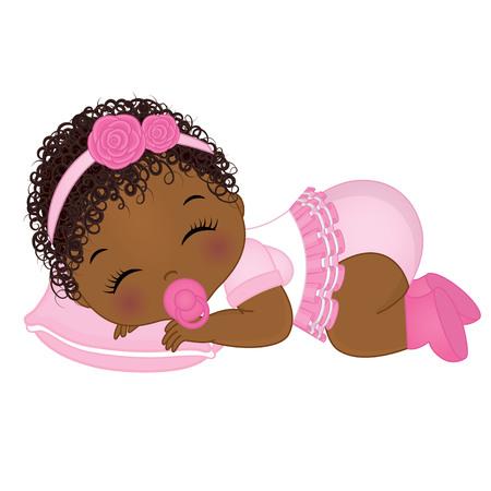 Vector mignonne afro-américaine bébé fille qui dort. Vecteur bébé fille. Illustration vectorielle afro-américaine bébé fille