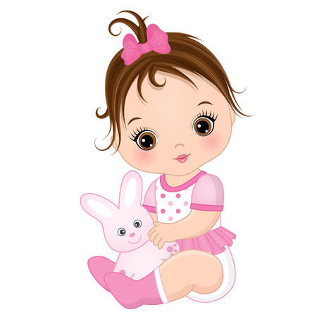 Vector cute baby girl with toy bunny. Vector baby girl. Baby girl vector illustration Çizim