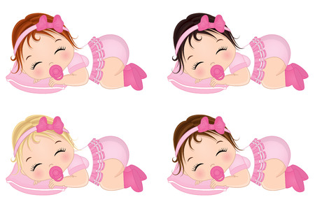 Vector lindo bebé niñas durmiendo. Vector bebés con varios colores de pelo. Vector niña. Ilustración de vector de bebé niña