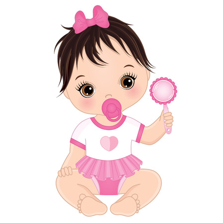 Vector cute baby girl with rattle sitting. Vector baby girl. Baby girl vector illustration