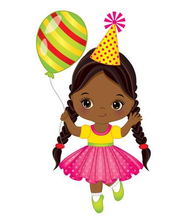 Illustration Vector of cute little African American girl with balloon. Иллюстрация