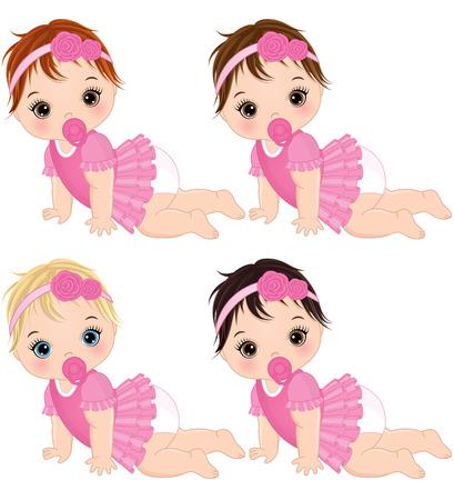 Vecteur mignon bébé filles rampant. Vecteur bébé filles avec différentes couleurs de cheveux. Vecteur bébé fille Bébés filles vector illustration.