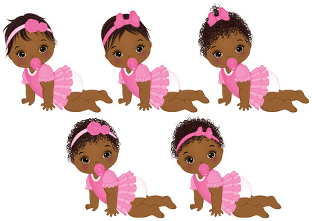 Vector cute African American baby girls crawling. Vector African American baby girls with various hairstyles. Vector baby girl. African American baby girls vector illustration