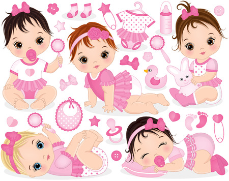 Vector set with cute baby girls, toys, clothes, decorations and various accessories. Vector baby girls with various hair colors. Vector baby girl. Baby girls vector illustration