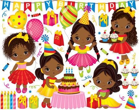 Vector birthday party set. Set includes cute little African American girls, cake, candles, balloons, cupcakes, gift boxes and party elements.