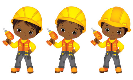 Vector cute little African American boys drilling. Vector little boys with various hairstyles. Vector little African American boys drilling. Little builders vector illustration
