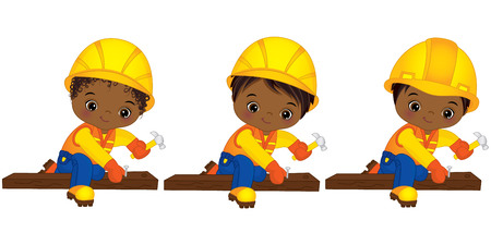 Vector cute little African American boys hammering nails. Vector little boys with various hairstyles. Vector African American little boys working. Little builders vector illustration