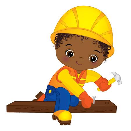 Vector cute little African American boy hammering nails. Vector construction. Vector African American little boy. Little builder vector illustration