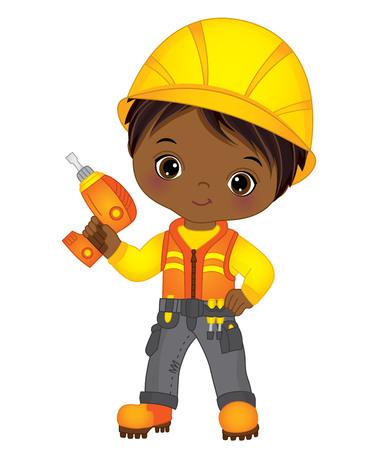 Vector cute little African American boy drilling. Vector construction. Vector little African American boy. Little builder vector illustration