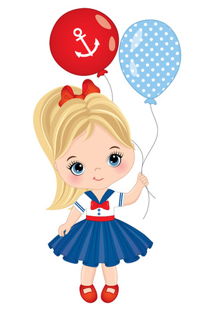 captain cap: Vector cute little girl with colorful balloons. Vector little girl dressed in nautical style. Little girl with balloons vector illustration