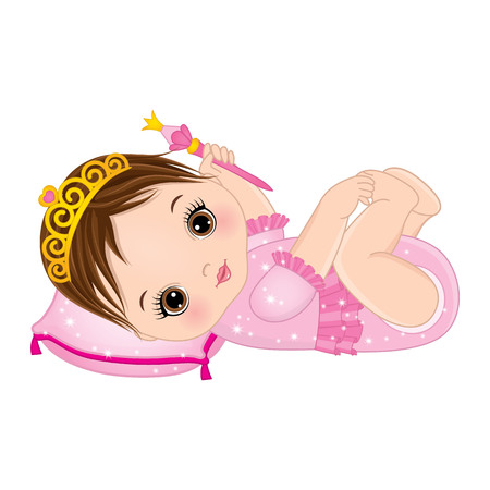 Vector cute little baby girl dressed as princess. Vector little princess. Vector baby girl with magic wand. Baby girl vector illustration