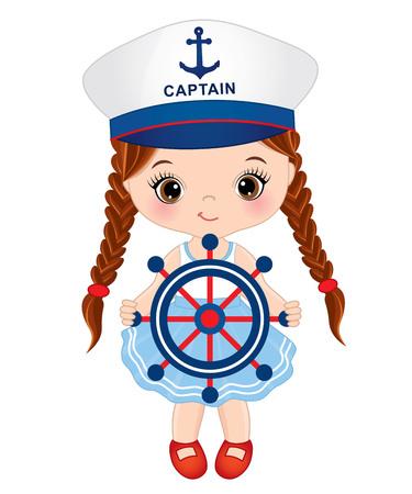 Vector cute little girl with ship wheel. Vector little girl dressed in nautical style. Little girl vector illustration