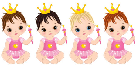 Vector cute little baby girls dressed as princesses. Vector baby girl. Vector baby girls with with various hair colors.  Baby girls vector illustration Vettoriali