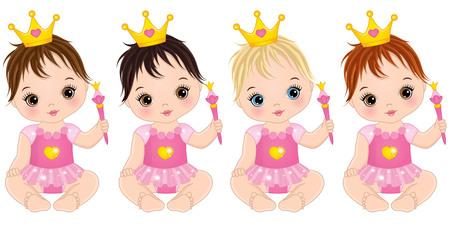 Vector schattige kleine baby meisjes verkleed als prinsessen. Vector babymeisje. Vectorbabymeisjes met met diverse haarkleuren. Baby meisjes vector illustratie