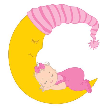birthday celebration: Vector cute baby girl sleeping on the moon. Vector baby girl. Baby girl vector illustration Illustration