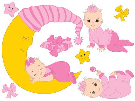 Vector con lindas niñas, luna, arcos, estrellas y pañales. Vector bebé niña ducha. Ilustración de vector de bebé niña Foto de archivo - 89047789