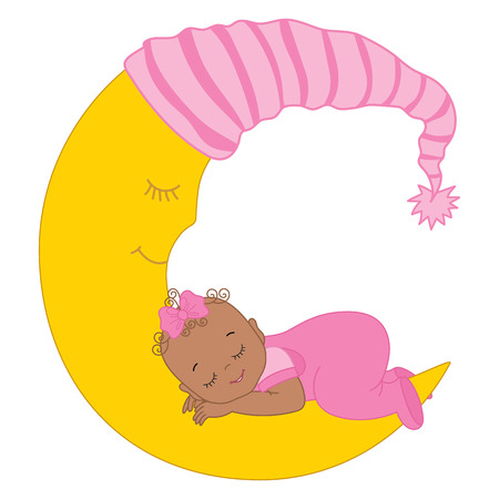 Vector cute African American baby girl sleeping on the moon. Vector baby girl. African American baby girl vector illustration
