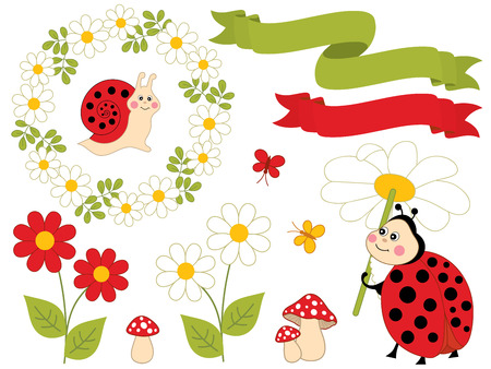 Vector summer set with cute cartoon insects. Set includes ladybug, snail, bee, butterflies, floral wreath, ribbons amanita and flowers. Summer set vector illustration